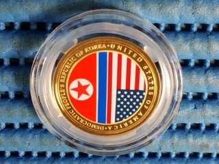 2018 Singapore Mint Trump & Kim Summit Commemorative 1/2 oz 999.9 Fine Gold Proof Colour Medallion ( 2nd Issue )