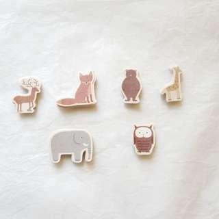 手剪貼紙 長頸鹿 大象 樹獺 貓頭鷹 鹿 狐狸 fox deer owl elephant giraffe sticker