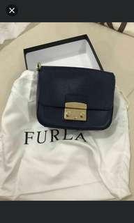 Furla Mini Blue Color Leather Handbag 90%New