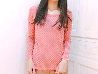 全新✨😍專櫃iiMK 粉紅白圓點長袖上衣