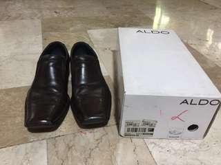 Authentic Aldo dark brown formal men footwear oxford genuine leather 43 shoes us 11