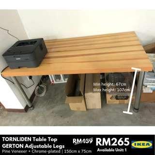 IKEA TORNLIDEN Table Top/GERTON Adjustable Legs