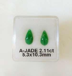 A-Jade Gemstones for Earings (Myanmar, 2.11CT)