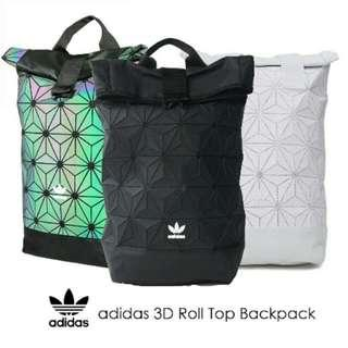 00b0d0eac521 Instock Adidas x Issey Miyake 3D Roll Top Backpack - Full Black  Dazzle   Colorful