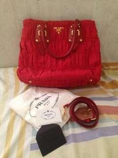 Prada BN2805 Red handbag with sling