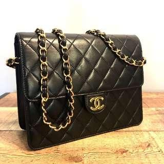 Authentic Chanel Lambskin 9 Inch Flap Bag with 24k Gold Hardware