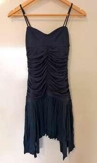 Sass & Bide short mini black dark blue grey tassel dress size 0 36 small, xs, 6