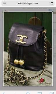 Vintage Chanel Black LambSkin Golden Ball Cross Body Bag Rare