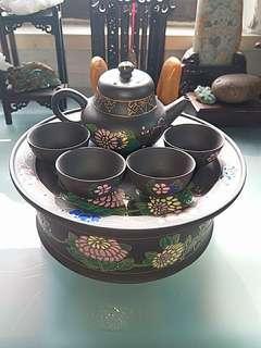 80年代老安順潮汕描金琺瑯釉彩手工紫砂壺套裝