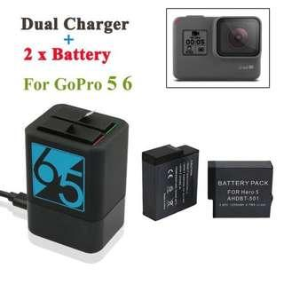 Gopro Hero 7 5 6 2 pcs battery with charger