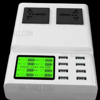 🈹YC-CDA10 8 Ports USB Charger 2 AC Ports UK Plug 8個USB插頭(8.2A) 快速充手機, 移動電源, 平板!