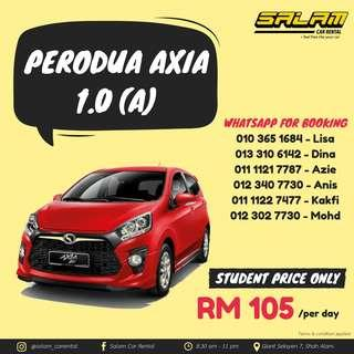 PERODUA AXIA 1.0 (A) FOR RENT! (STUDENT PRICE ONLY!)
