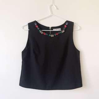 Jewelled crop tank top size 8