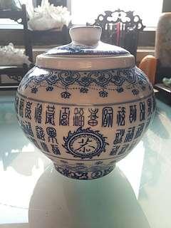 80年代景德鎮青花瓷百福圖茶葉罐