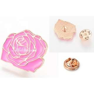 Enamel Rose Brooch Pin - with Extra Pin Back