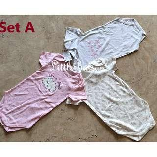 Set of 3 Onesies for Big Tall Babies Up to 3 Years Old for Girls