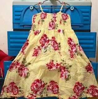 Yellow Floral Dress for Girls