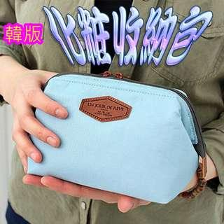 日韓 帆布 甜美繽紛化妝包/化妝收納包 袋中袋 收納包 手拿包