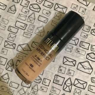 MILANI makeup Conceal + Perfect 2-in-1 foundation + concealer in 00 Light Natural.