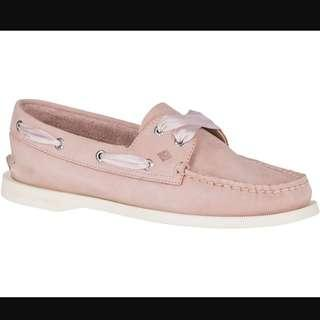 Sperry Satin Lace Loafers / Boat Shoes in Rose Dust