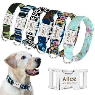 Personalized Custom Engraved Buckle ID Collar For Small Medium Large Dogs