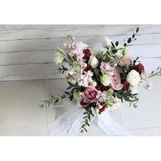 Rustic Fresh Red, Pink & White hand bouquet (Wedding / ROM/ Bridesmaid / Proposal/ Anniversary/Birthday)
