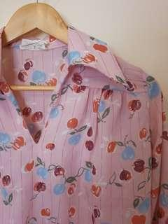 Vintage cherry collared pink shirt size 6 8 10 small medium