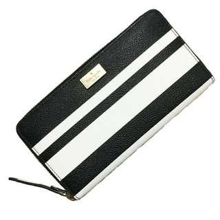 Authentic Kate Spade New York Black & White Striped Continental Wallet