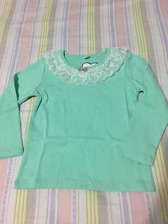全新女童湖水綠長袖上衣(Size: 130)