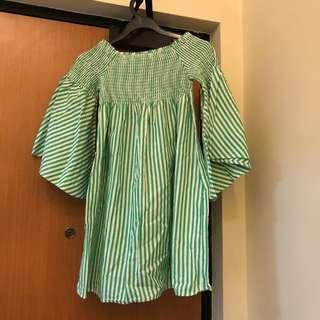 ZARA Green Stripe Blouse