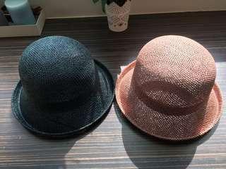 🚚 編織帽 硬挺圓帽 淑女帽 附綁帶 適合夏季 遮陽帽 深藍色 蓮藕色 兩色