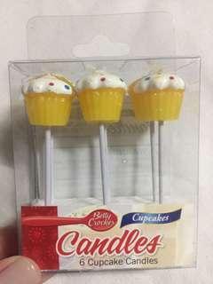 BETTY CROCKER 6 PIECES CUPCAKE CANDLES
