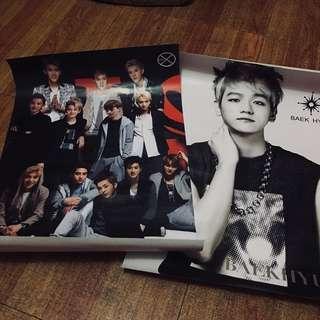 EXO old posters OT12+Baekhyun solo poster