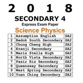 2018 Sec 4 Combined Science Physics Prelim Papers / Exam Paper