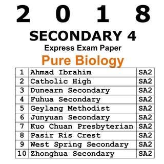 2018 Sec 4 Pure Biology Prelim Paper / Exam Paper