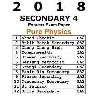 2018 Sec 4 Pure Physics Prelim Paper / Exam Paper