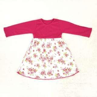Gamis anak bunga pink