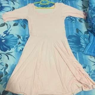peach katun dress