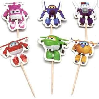 Super wings Cupcake Cake Jelly Toppers Pick Party Birthday Baby Decoration