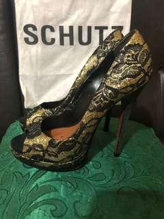Preloved schutz glamorous heels peep toe