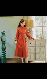 Pinkoi AnneChen鐵鏽紅襯衫連身洋裝#L號