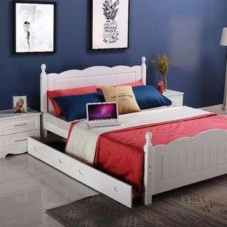 Romantic Maditerannean Solid Pine Wood Bed Frame