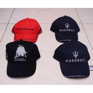 Porsche, Maserati, Lamborghini caps