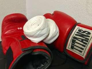 ALL in @ 500!! Titan boxing gloves with FREE hand wrap