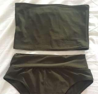 Black bandeau bikini set