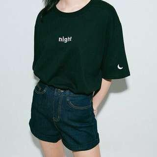 Black 'night' shirt with moon on sleeve