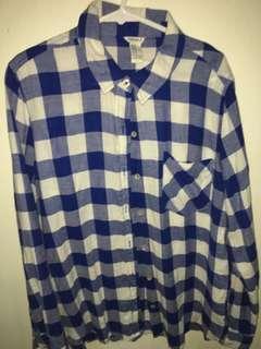 Forever21 blue checker shirt