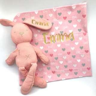 Christmas - Personalised Baby Blanket & Soft Toy