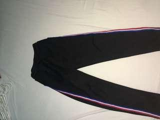Black long pants with red & blue strips