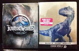【港版鐵盒】Bluray Jurassic World侏儸紀世界(2D+3D)+Jurassic World侏儸紀世界 2 (2D+3D)
